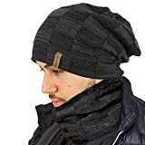 TOSKATOK® Unisex Mens Ladies Fleece Lined Chunky Knit Beanie Hat or Neckwarmer Snood for Outdoor Winter Sports Skiing, Hiking-1