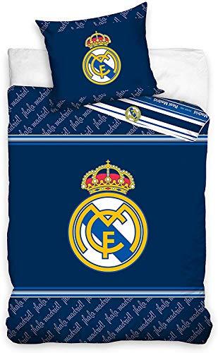 Juego de Cama Real Madrid Blancos Funda nórdica y Funda de Almohada de algodón 135 x 200cm + Funda...