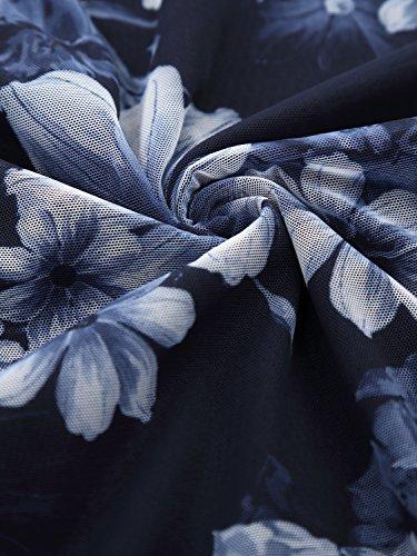 BaiShengGT Damen Falten Kurzarmshirt Rundhals Kragen Stretch Tunika Bluse Blau-Blumen