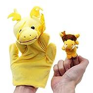 VANKER marioneta del dedo de la felpa de mano Modelo de los juguetes 2 piezas (1 grande + 1 pequeña)--dragón
