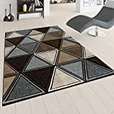 Paco Home Tapis De Salon Moderne À Poils Ras Effet 3D Design Losanges en Marron Gris Beige, Dimension:160x230 cm