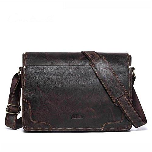 Jxth Classic Business Aktentasche für Herren Herren Leder Aktentasche lässig Tote Crossbody Schulter Messenger Bag Handtasche braun für 13-Zoll-Netbook Tablet Kuriertasche Laptoptasche