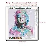 Kit complet de peinture de diamant de foret 5D,Marilyn Monroe kits de peinture de diamant de fausse pierre de diamant de bricolage pour les arts de d'adultes décor d'art de la maison,40cm * 40cm
