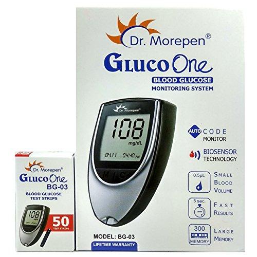 Dr. Morepen BG-03 Gluco One Glucometer Combo, 50 Strips (Multicolor)