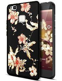 Carcasa Ikasus para Huawei P9Lite, hecha con elastómeros termoplásticos (TPU) en relieve 3D estampado, diseño colorido con flores de girasol, cerezo y patrones negros pintados; carcasa flexible y suave de silicona con protector antigolpes de goma