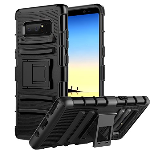 MoKo Samsung Galaxy Note 8 Hülle - [Heavy Duty Serie] Outdoor Rugged Armor stoßfest Handy Schutzhülle Schale mit Gürtelclip & Standfunktion für Samsung Galaxy Note8 Smartphone, Schwarz