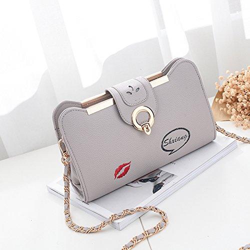 CengBao Ms. pacchetti marea nuove borse a tracolla messenger bag mini selvatica coreano pacchetto femmina pacchetti catena elegante, grigio versione intrecciato Khaki-colorato di rosso le labbra versione