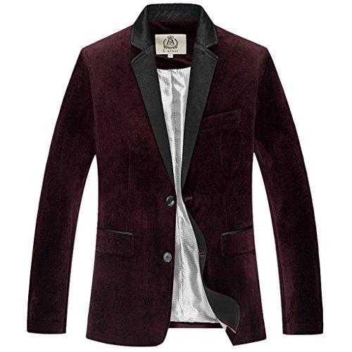 E-artist Homme 2 Boutons Velours Blazer Veston X39 Rouge (Wine Red)