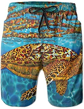 Animal Turtle Men's/Boys Casual Quick-Drying Bath Suits Elastic Waist Beach Pants with Pockets