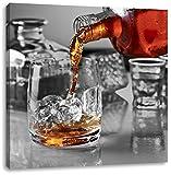 Whiskey im Whiskeyglas schwarz/weiß, Format: 40x40 auf Leinwand, XXL riesige Bilder fertig gerahmt mit Keilrahmen, Kunstdruck auf Wandbild mit Rahmen, günstiger als Gemälde oder Ölbild, kein Poster oder Plakat