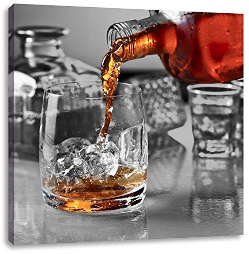 Pixxprint Whisky di Vetro 40x40 cm Stampa su Tela