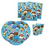 Papierdrachen Party Set mit 36 Teilen - Motiv Pirates - Partygeschirr mit Bechern, Servietten und Tellern aus Pappe für Kindergeburtstage