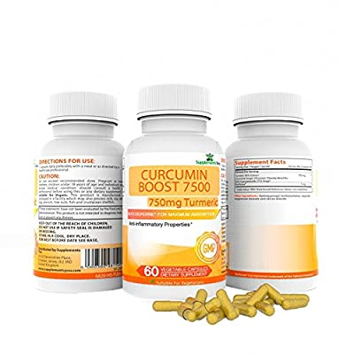 CURCUMIN BOOST 7500 ADVANCED WITH ADDED BIOPERINE: 60 Premium Supplements 95% Curcuminoids, REDUCING INFLAMMATION of your INTERNAL ORGANS. Can help LIVER DISORDERS. HUGE 750mg, with super ABSORPTION! By SupplementsYou