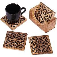 Store Indya, Intagliato a mano Set di 4 sottobicchieri in legno per te e caffe birra con motivi geometrici Bicchieri e possibile pranzare e Accessori - Bustine Di Tè Nozze