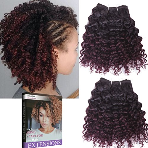 Emmet 2 Paquet Extensions de Cheveux Courts, Facile à Coudre Ombre Couleur Afro Crépus Tissage Brésilien Cheveux Humains 20cm 100g, Peut être Teint et Permé