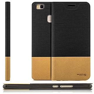 zanasta Tasche kompatibel mit Huawei P9 Lite (VNS-L31) mit Kartenfach Hülle Flip Case Slim Schutzhülle Handytasche, Standfunktion | Schwarz