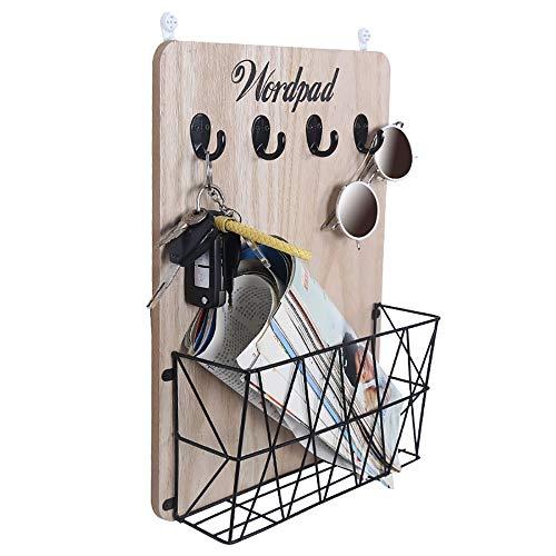 LaMei Yang Moderne dekorative Metall Magazin Rack - Aufbewahrungskorb, Haken Design, Platz sparen - geeignet für Büro, Haus, Schlafsaal Dekoration,Black