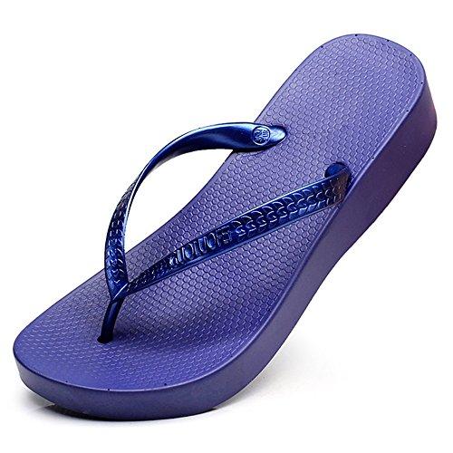 Estate Sandali Pantofole resistenti alla spalla femmina femminile Scarpe da spiaggia Pantofole fresche (bianco, beige, nero, blu, grigio, rosa) Colore / formato facoltativo Blu