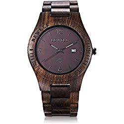 GBlife BEWELL ZS - W086B Mens Wooden Watch Analog Quartz Movement with Date Display Retro Style(ebony wood )