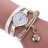 LSAltd Heiß Verkauf!!! Frauen Mädchen Klassische Lederne Rhinestone Uhr analoge Quarz Armbanduhren Großes Geschenk (Weiß)