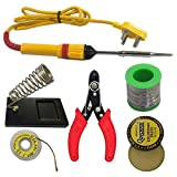 Adraxx 6 In1 Electric Soldering Iron Stand Tool Wire Stripper Kit 25 Watt Welding Stick Set