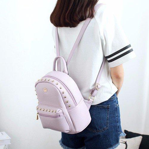 rivet rucksack freizeit weibliche kollegium wind mit pu - leder rucksack reisen alle,mini - lila (Mini-rucksack Graue)