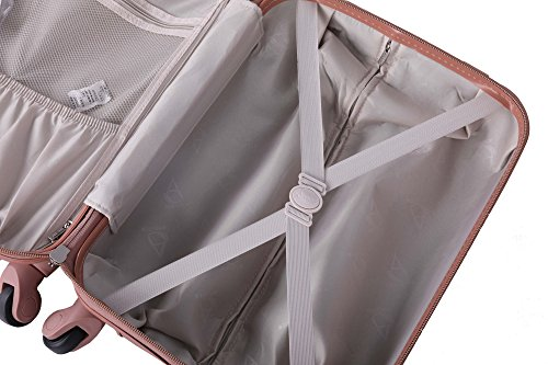 51NPqueVhaL - Aerolite - Súper liviano, 3 piezas, equipaje de viaje rígido, maleta de viaje, con 4 ruedas (3 piezas, oro rosa)