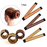 IBEET Bun Hair Maker, Magic Hair Styling Donut Bun Maker, Hair Bun Shapers for Women Girls DIY Hairstyle Tools, 3 Pack(Brown/Red-brown/Yellow Brown)