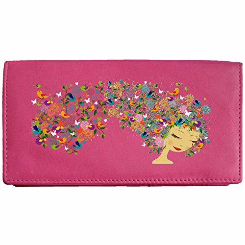 Girl with Flower and Bird Hair Klassek Real Leather Womans Purse ladies Wallet