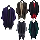 Women Shawl Scarf, Rcool Women Winter Knitted Poncho Capes Wraps Shawl Cardigans Sweater Coat Scarves Stoles