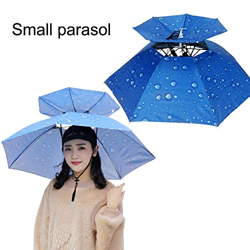 Hzl Regenschirm, Angelhut, Doppelschicht, faltbar, atmungsaktiv, UV-Schutz, Winddicht, wasserdicht, Regenschirm, Mütze, Fahrrad, Wandern, Camping, Gartenarbeit im FreienBlue