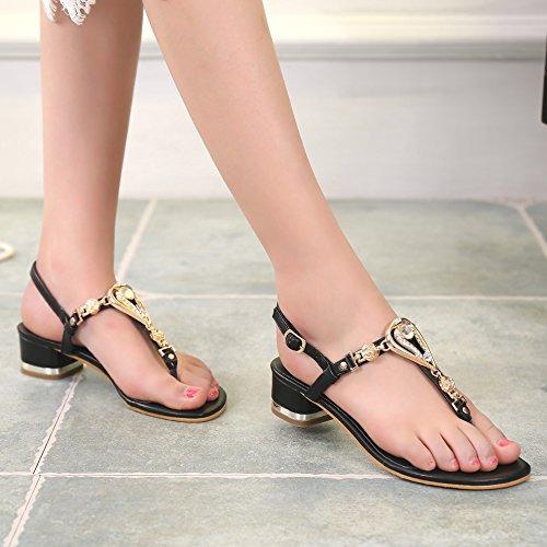 Sunavy - Chaussures Peep Toes Noires Pour Femme