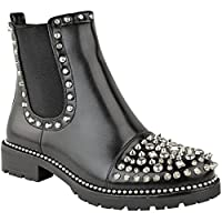 Fashion Thirsty Womens Ladies Spike Studded Chunky Ankle Boots Biker Goth Punk Black Grunge Size