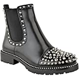 Fashion Thirsty Womens Ladies Spike Studded Chunky Ankle Boots Biker Goth Black Punk Grunge Size