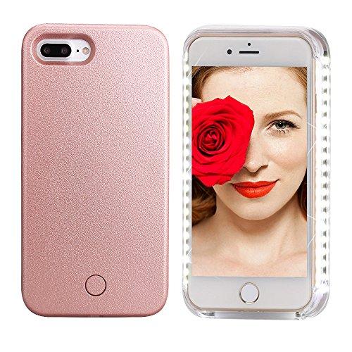 Custodia Luce Selfie Light Case LED Flash Cover iPhone 7 Plus nella Notte, Illuminato Telefono Custodia Portatile Cover con 3 Livelli di Luminosità per iPhone 7 Plus, Oro