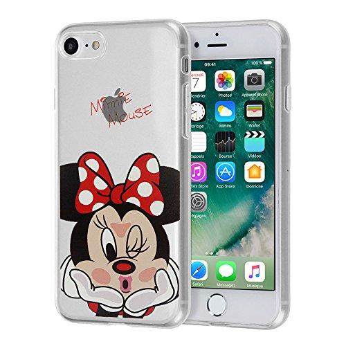 "VComp-Shop® Transparente Silikon TPU Handy Schutzhülle mit Motiv Cartoon Disney für Apple iPhone 7 4.7"" + GRATIS Displayschutzfolie - Winnie the Pooh Minnie Mouse"