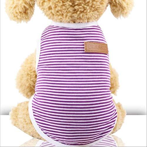 XCRIYX Katze kleidet Baumwolle gestreifte Weste Haustier-Katzen-T-Shirt-Kleidung für Katzen-Ausstattungs-Hemd-Haustier kleidet nettes Kätzchen-Welpen-Kostüm S Lila -