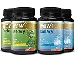 Wow Green Coffee Plus with Body Cleanse Plus Booster - 60 Capsules (Pack of 4)