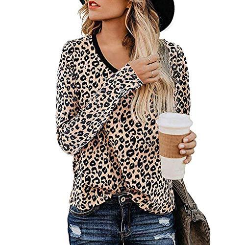 KEERADS Damen Oberteile mit Leopardmuster, Casual Kurzarm T-Shirt O-Ausschnitt Hemd Sommer Mode Basic Tee Tunika Tops Casual Basic Bluse