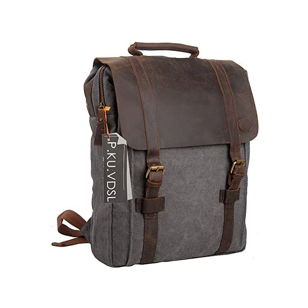 P.KU.VDSL Canvas Leather Backpack 44b9c225e8993