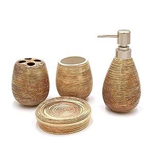 Rocita – Juego de Accesorios de baño de cerámica, 4 Piezas, dispensador de jabón, Vaso para cepillos de Dientes…