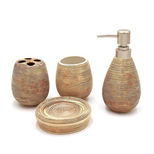 Rocita Modernes 4-teiliges Badaccessoires-Set Keramik Badset Seifenspender Becher Zahnbürstenhalter Seifenschale