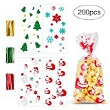 MELLIEX 200pcs Sacchetti Biscotti di Natale Caramelle di Trasparenti Sacchetti di Richiudibili Autoadesivi per Bambini Regali di Natale