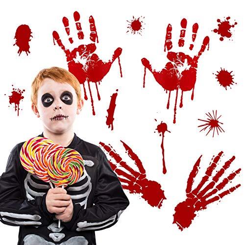 Yuson Girl Halloween Wandaufkleber Wandtattoo Realistisch Wirkende Schaurig Blutige Sticker/Aufkleber - Halloween Party Haus Dekoration (6 Blätter)