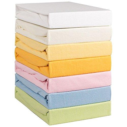 Aminata Kids - Feinjersey Spannbetttuch Spannbettlaken für Kinderbett 70x140 cm ecru beige weiß (Jersey Jugend Qualität)