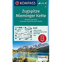 Zugspitze, Mieminger Kette, Ehrwald, Lermoos, Garmisch-Partenkirchen, Reutte: 4in1 Wanderkarte 1:50000 mit Aktiv Guide und Detailkarten inklusive ... Skitouren. (KOMPASS-Wanderkarten, Band 25)