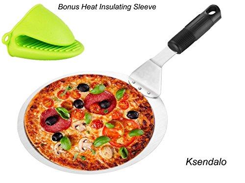Pelle à pizza/spatule à gâteaux ronde Ksendalo, diamètre 25,4 cm, pour transférer facilement et en toute sécurité vos gâteaux ou pizzas, avec manche antidérapant, mini gant en silicone inclus.