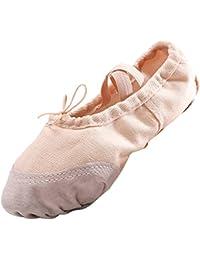 Panegy - Tutú Zapatillas para Niñas Ballet Zapatos de Lona Punta Reforzada Suela de Piel Antideslizante - EU 30 Rosa de Carne