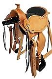 Baumloser Westernsattel MICHIGAN Eco aus Büffelleder mit Klettkissen, Größe:16 Zoll