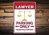Letrero de aparcamiento, letrero, letrero de abogado, letrero de abogado, letrero de letrero para estudiantes de derecho, letrero de metal para el garaje, letrero de aluminio de metal, 25,4 x 35,5 cm